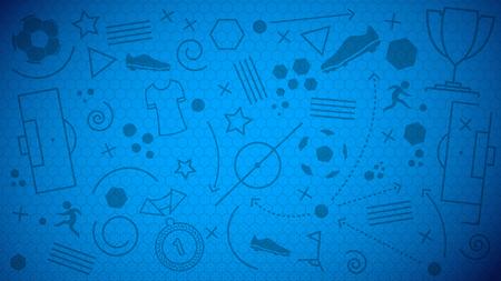 Fondo del balompié campeonato. Ilustración vectorial de fondo abstracto azul de fútbol con diferentes iconos y patrón de red de fútbol sin fisuras para su diseño Ilustración de vector