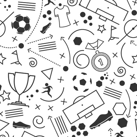 Football icons set. Vector illustration of abstract seamless soccer wallpaper pattern for your design 矢量图像
