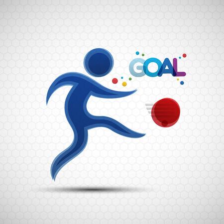 footballer: Football championship banner. Soccer player kicks the ball. Vector illustration of abstract footballer silhouette for your design