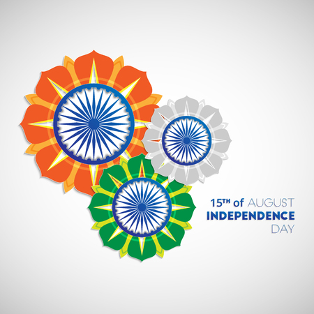 15th: Happy Independence Day India. 15th of august. Indian Independence Day abstract background with flowers and ashoka wheel for your design Illustration