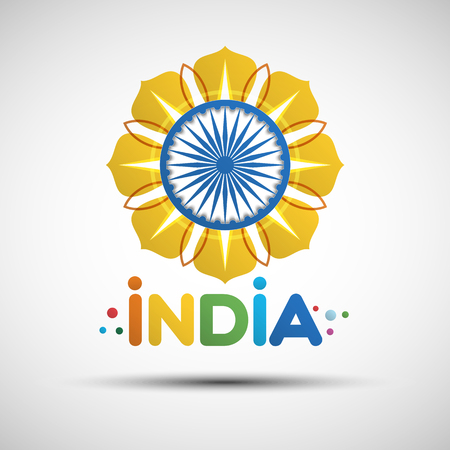 15th: Indian Independence Day greeting card. 15th of august. Vector illustration of abstract golden flower for your design Illustration