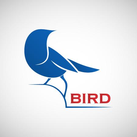 friendliness: Modelo de la insignia del pájaro azul abstracto. Ilustración del vector del gorrión como símbolo de la creatividad, la alegría, la amistad y la comunidad para su diseño Vectores