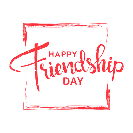 brotherhood: Happy friendship day. Handwritten lettering. Modern Calligraphy. Vector lettering with brush texture on white background for your design