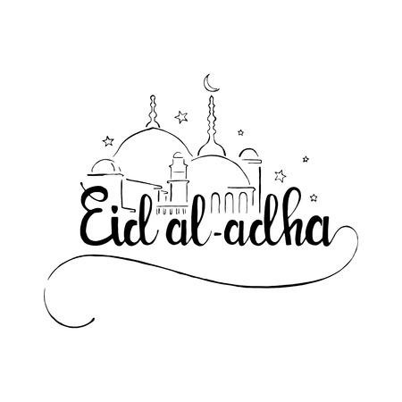 Eid al-Adha handgeschriebenen Schriftzug. Eid Mubarak. Moderne Vektor Hand gezeichnet Kalligraphie mit Moschee auf weißem Hintergrund für muslimischen Feiertag Bakr-Eid isoliert oder Opferfest Standard-Bild - 59810004