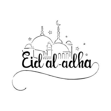 sacrifice: Eid al-Adha handwritten lettering. Eid Mubarak. Modern vector hand drawn calligraphy with mosque isolated on white background for Muslim holiday Bakr-Eid or Sacrifice Feast