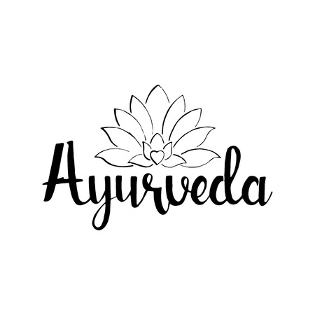 ayurveda: Ayurveda handwritten lettering. Healthy lifestyle. Modern vector hand drawn calligraphy with lotus flower isolated on white background for your design