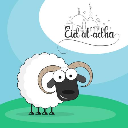 sacrificio: ovejas lindo en una ilustraci�n vectorial prado verde estilo plano con las letras escritas a mano Eid al-Adha de fiesta musulmana de Eid-Bakr o el sacrificio Fiesta
