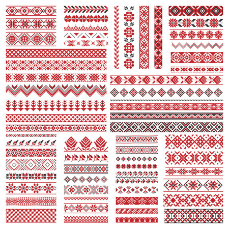 Big set of traditional embroidery. Vector illustration of ethnic seamless ornamental geometric patterns for your design Ilustração