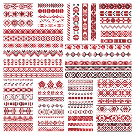Grande conjunto de bordado tradicional. Ilustração em vetor de padrões geométricos ornamentais sem costura étnicos para seu projeto