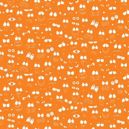 Illustration Of Abstract Seamless Halloween Wallpaper Pattern With Cute Monster Faces And Eyes For Your Design