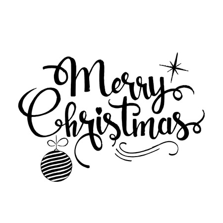 happy new years: Merry Christmas lettering. Modern hand drawn calligraphy with xmas tree ball and star isolated on white background for your greeting card design Illustration