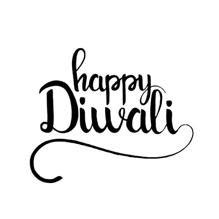 Happy Diwali lettering. Modern hand drawn calligraphy isolated on white background for your greeting card design Illustration