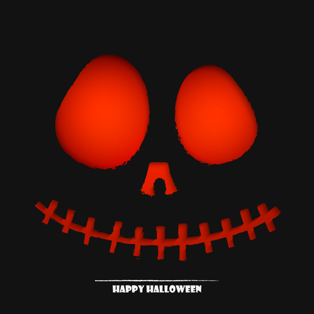 illustration of scary halloween pumpkin face background for your design