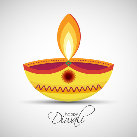 Festival of lights Deepavali. Happy Diwali abstract background. illustration of Diya oil lamp for your greeting card design