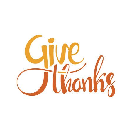 Geef dank handgeschreven letters. Happy Day Thanksgiving. Moderne kalligrafie op een witte achtergrond voor uw ontwerp