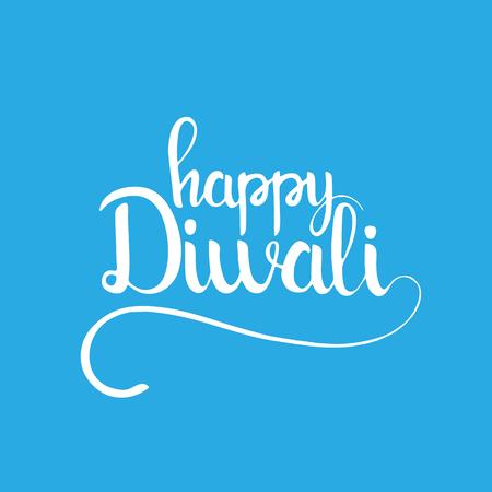 divali: Happy Diwali handwritten lettering. Modern calligraphy over light blue background for your greeting card design