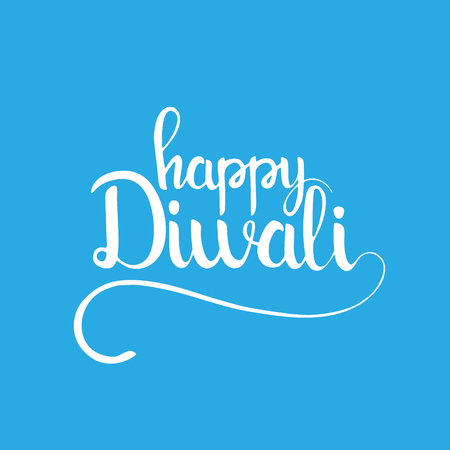 Happy Diwali handwritten lettering. Modern calligraphy over light blue background for your greeting card design