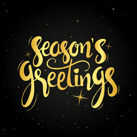 season's greeting: Seasons greetings golden handwritten lettering. Modern hand drawn calligraphy over starry night background for your greeting card design