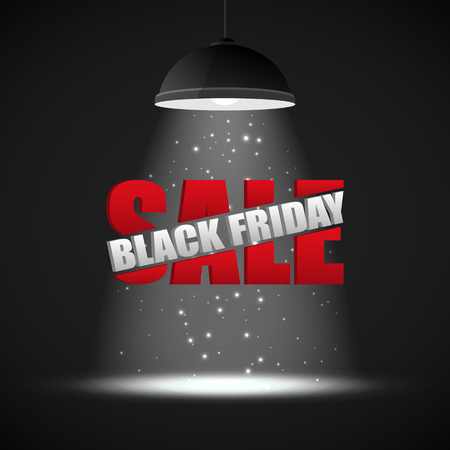 pendant lamp: Black Friday Sale inscription design template against the background of ceiling lamp