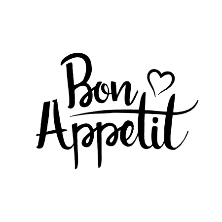 Bon Appetit handwritten lettering. Modern vector hand drawn calligraphy isolated on white background for your design