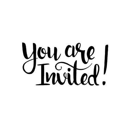 you are invited: You are invited handwritten lettering. Modern vector hand drawn calligraphy isolated on white background for your design