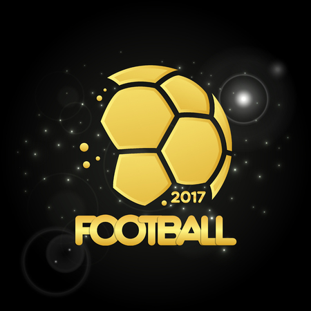 Football championship banner. Vector illustration of abstract golden soccer ball for your design