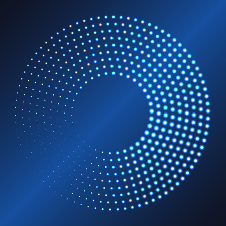 Glowing dots circle. Abstract neon lights background for your design