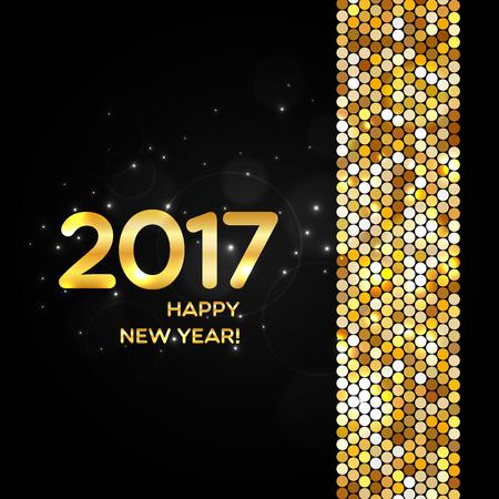 Happy New Year 2017 miroitement d'or de fond faite de paillettes abstraites pour la conception de votre carte de voeux