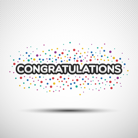 Congratulations word with colored round confetti for your design