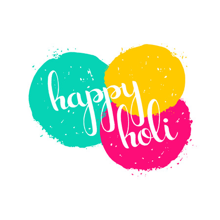 holi: Happy Holi handwritten lettering with paint splashes. Spring festival of colors. Modern vector hand drawn calligraphy for your poster, banner, postcard, invitation or greeting card design