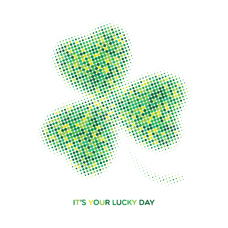 Irish three leaf halftone lucky clover. Abstract Saint Patricks Day background. Vector illustration of green dotted shamrock leaf icon for your poster, postcard or greeting card design Illustration