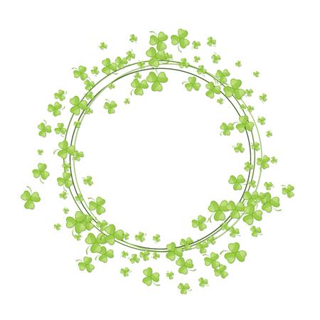 threeleaf: Abstract Saint Patricks Day background. Vector illustration of shamrock leaves round frame for your poster, postcard or greeting card design Illustration