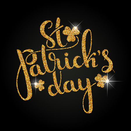 paillette: St. Patricks Day golden handwritten lettering with shamrock leaves. Modern vector hand drawn calligraphy over black background for your poster, postcard or greeting card design