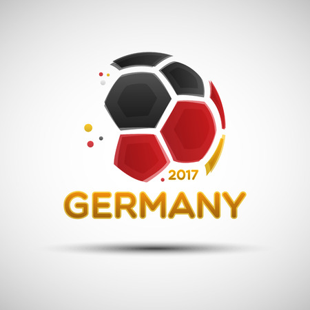 sport fan: Football championship banner. Flag of Germany. Vector illustration of abstract soccer ball with German national flag colors for your design