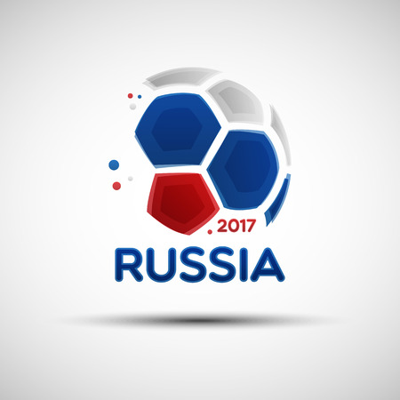Football championship banner. Flag of Russia. Vector illustration of abstract soccer ball with Russian national flag colors for your design Çizim