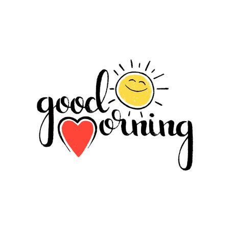 좋은 아침 손으로 쓴 글자. 현대 벡터 손으로 그려져 서 예 마음과 재미 있은 웃는 태양 귀하의 디자인에 대 한 흰색 배경에 고립 된