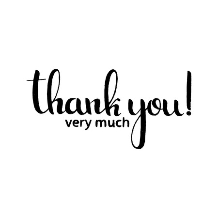 Thank you very much handwritten lettering. Modern vector hand drawn calligraphy isolated on white background for your design