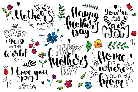 Mothers day brush pen handwritten lettering set. Modern vector hand drawn calligraphy isolated on white background Çizim