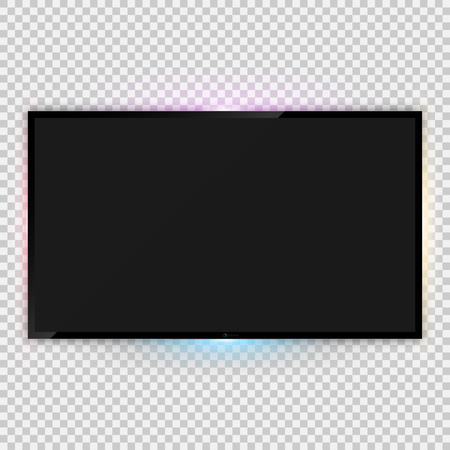 lcd tv: Vector illustration of realistic tv screen template with backlight ambient lighting and empty screen over transparent background for your design