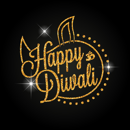 Indische diya olie lamp. Het festival van lichten. Gelukkige Diwali gouden letters voor uw wenskaart ontwerp