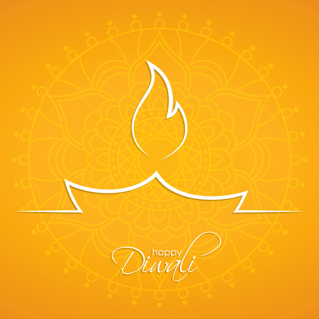 Indian diya oil lamp. The festival of lights. Happy Diwali abstract background with ornament for your greeting card design