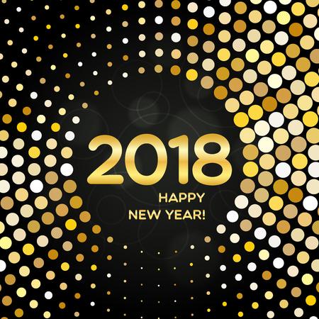Bonne année 2018 ronde fond doré doré composé de spangles abstraites pour votre conception de carte de voeux