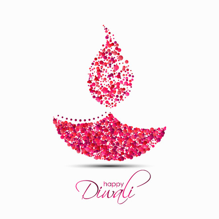 Happy Diwali. The festival of lights. Vector illustration of abstract Indian diya oil lamp made of round confetti for your greeting card design