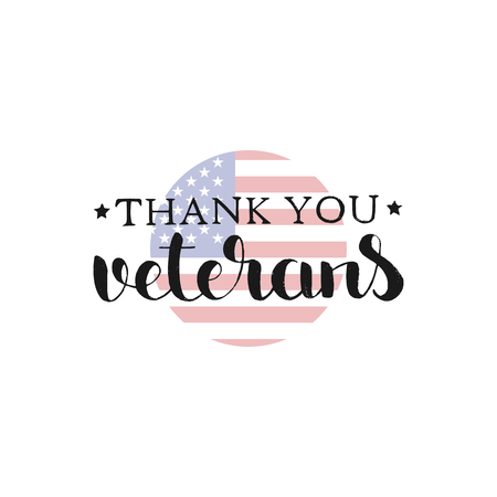 Thank You Veterans handwritten lettering Illustration