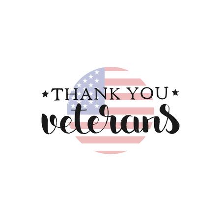 Thank You Veterans handwritten lettering Ilustrace