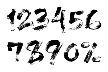 Vector illustration of brush painted numbers set with percent sign on white background for your design. Çizim