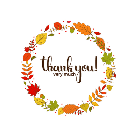 Thank you very much handwritten lettering. Happy Thanksgiving Day. Modern vector hand drawn calligraphy with autumn leaves decorative wreath on white background for greeting card design. 向量圖像