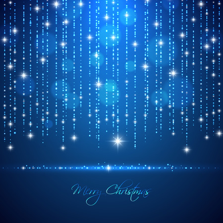 Merry Christmas abstract light background with falling glowing dots and sparkles for your poster, banner, postcard, invitation or greeting card design