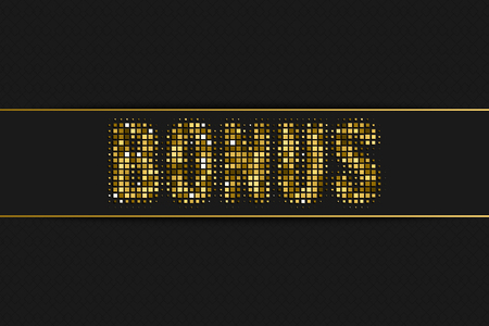 Bonus golden halftone advertising sign with geometric pattern for your design