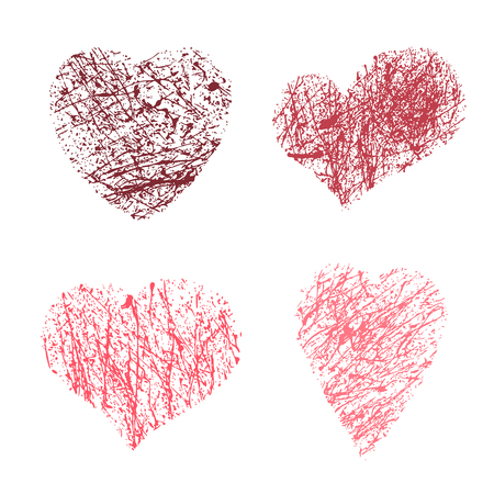 Vector illustration of brush painted hearts set isolated on white background. Valentines day grunge hand drawn heart icons for your poster, banner, invitation or greeting card design Illustration